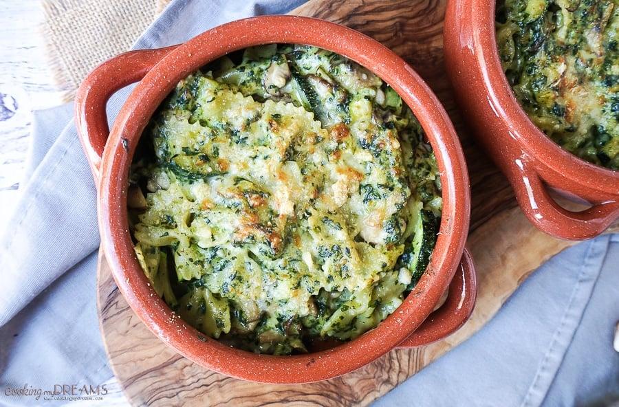 Cheesy Mushroom and Zucchini Pesto Pasta Bake