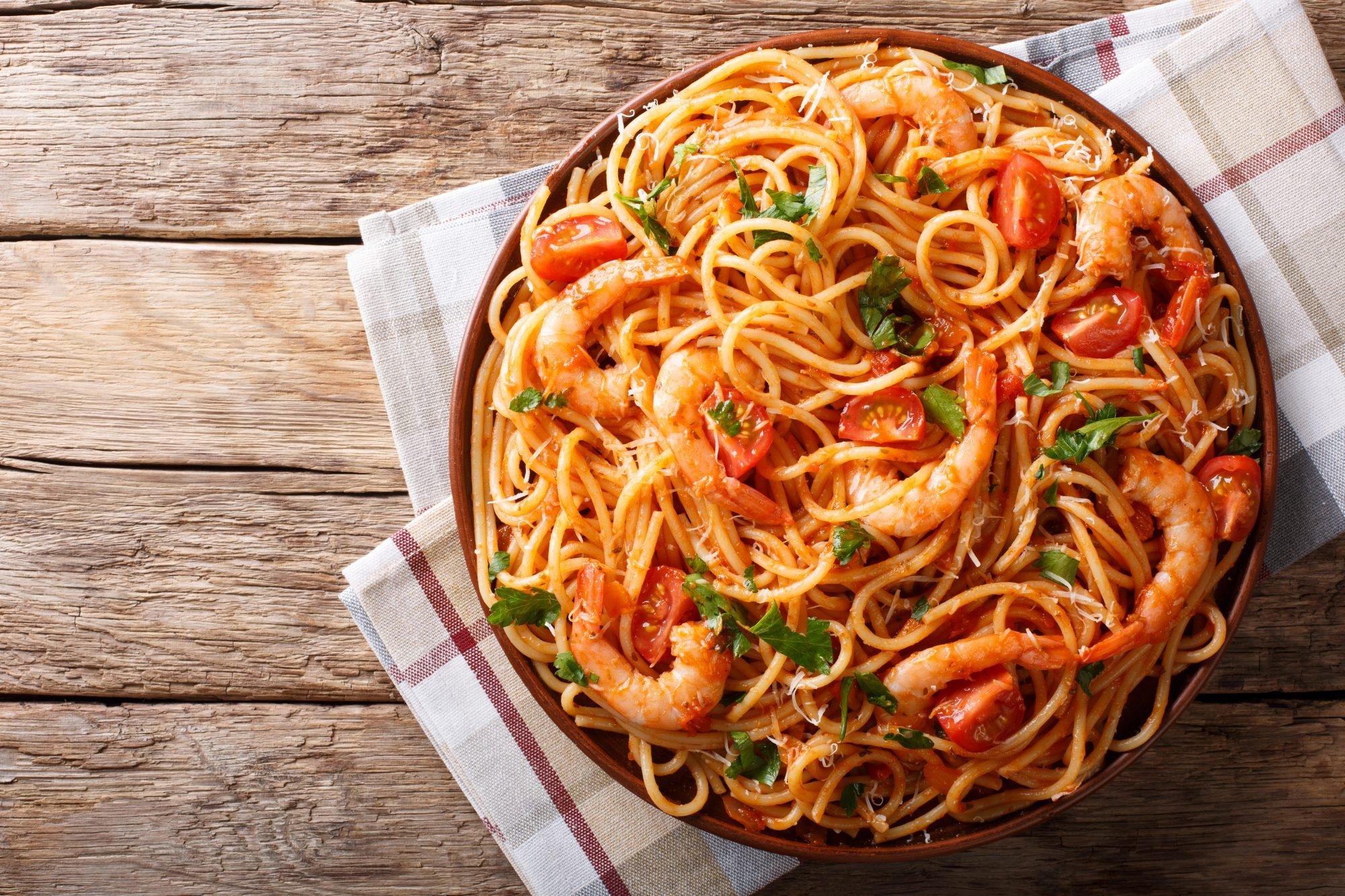 Spaghetti Shrimp Fra Diavolo Recipe with Black Truffle Arrabbiata Sauce