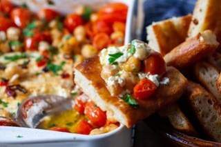 Baked Feta with Tomatoes and Chickpeas on Focaccia Bread