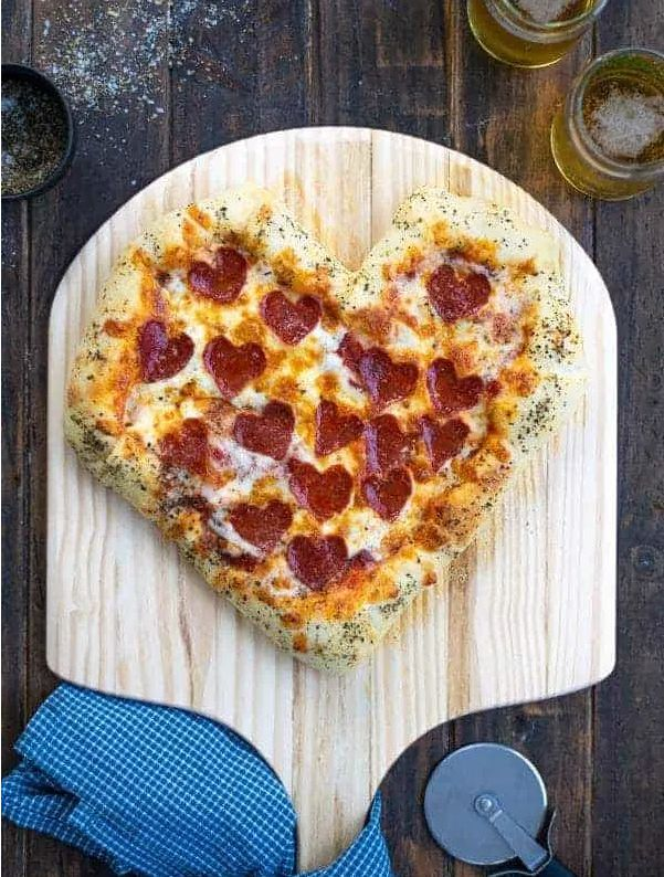 Stuffed Crust Heart Shaped Pizza