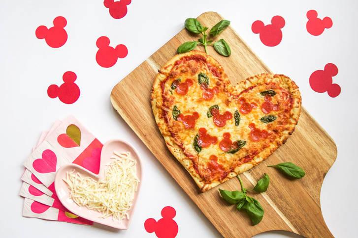 Hidden Mickey Heart Shaped Pizza