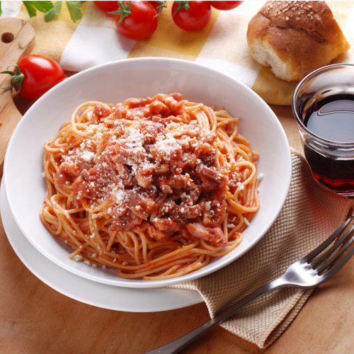 Spaghetti all'Amatriciana with Black Truffle Pomodoro Sauce