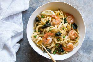 Fettuccine with Shrimp and Green Peas (Pasta e Piselli Recipe)