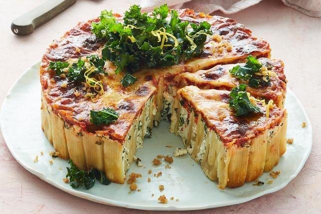 Cheese Rigatoni Pie with Crispy Kale