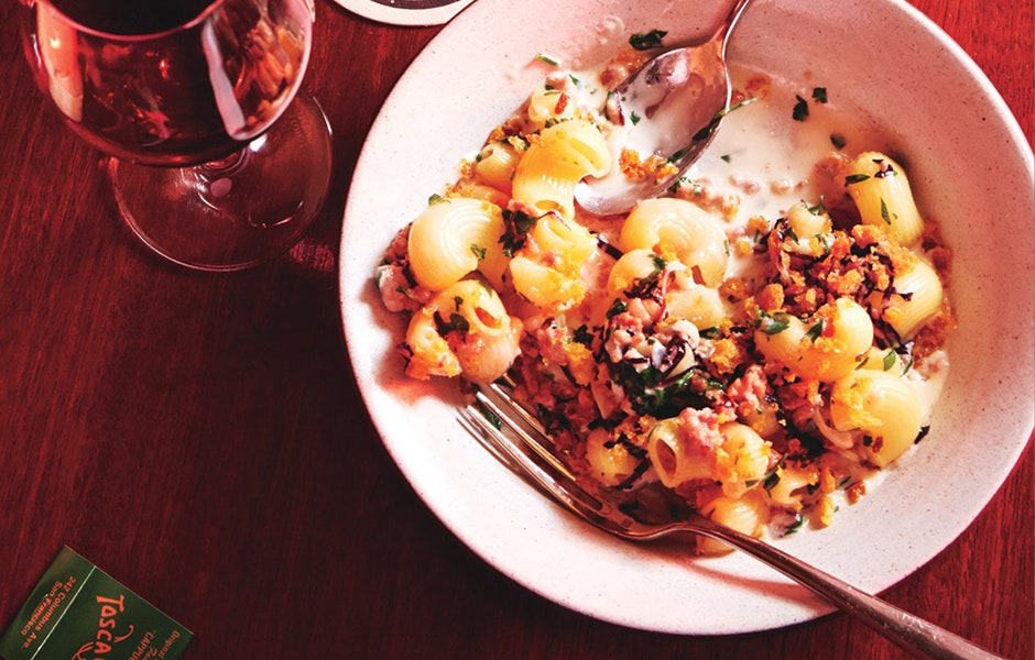 Lumaconi with Prosciutto and Lemon Breadcrumbs