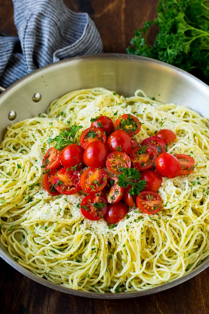Angel Hair Pasta with Garlic and Herbs